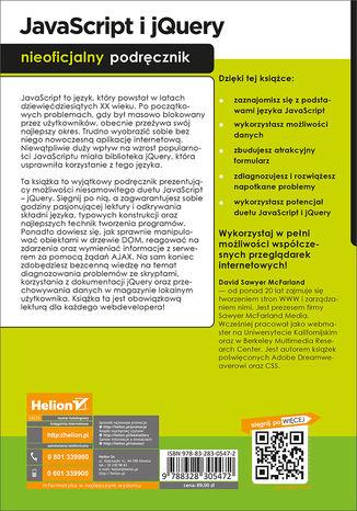 Tył okładki książki/ebooka JavaScript i jQuery. Nieoficjalny podręcznik. Wydanie III