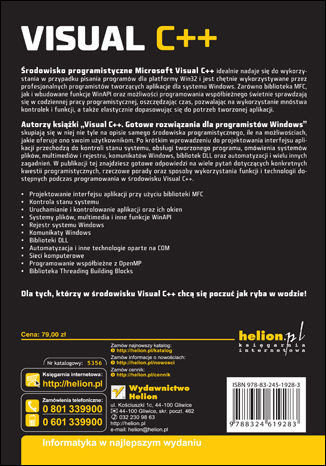 Tył okładki książki/ebooka Visual C++. Gotowe rozwiązania dla programistów Windows