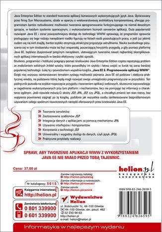 Tył okładki książki/ebooka Java EE 6. Programowanie aplikacji WWW
