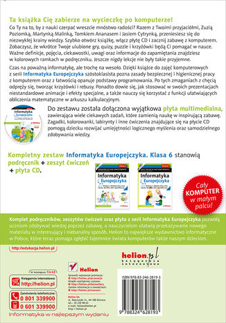 Tył okładki książki/ebooka Informatyka Europejczyka. Podręcznik do zajęć komputerowych dla szkoły podstawowej, kl. 6. Edycja: Windows 7, Windows Vista, Linux Ubuntu, MS Office 2007, OpenOffice.org (Wydanie II)