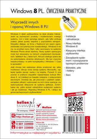 Tył okładki książki/ebooka Windows 8 PL. Ćwiczenia praktyczne