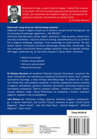 Tył okładki książki Metoda Pose. Bieganie techniką dr. Romanova