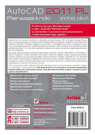 Tył okładki książki AutoCAD 2011 PL. Pierwsze kroki