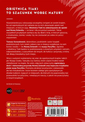 Tył okładki książki/ebooka Obietnica Tiaki. O niezwykłości Nowej Zelandii i wysp Pacyfiku