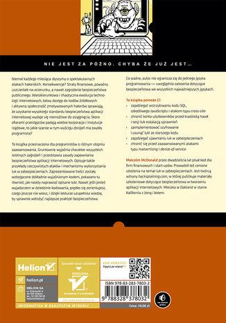 Tył okładki książki/ebooka Bezpieczeństwo aplikacji internetowych dla programistów. Rzeczywiste zagrożenia, praktyczna ochrona