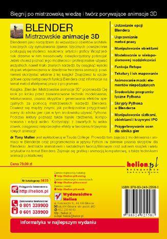 Tył okładki książki/ebooka Blender. Mistrzowskie animacje 3D