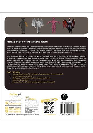 Tył okładki książki/ebooka Blender. Praktyczny przewodnik po modelowaniu, rzeźbieniu i renderowaniu