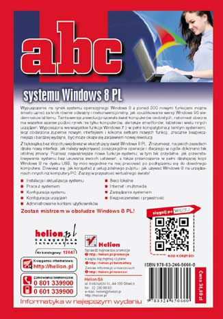 Tył okładki książki ABC systemu Windows 8 PL