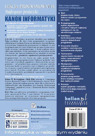 Tył okładki książki/ebooka Lekcja programowania. Najlepsze praktyki
