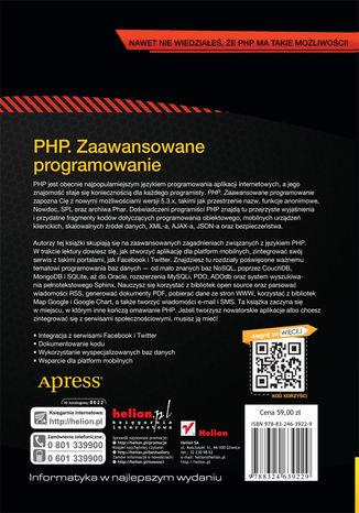 Tył okładki książki/ebooka PHP. Zaawansowane programowanie