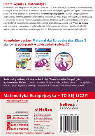 Tył okładki książki Matematyka Europejczyka. Podręcznik dla szkół ponadgimnazjalnych. Profil podstawowy i rozszerzony. Klasa 2