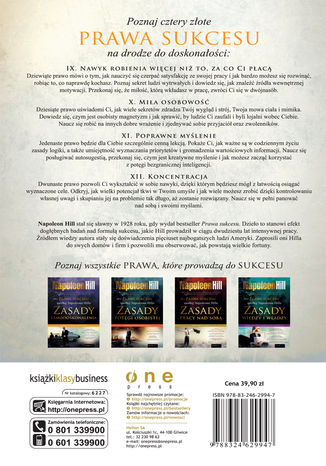 Tył okładki książki Prawa sukcesu według Napoleona Hilla. Zasady pracy nad sobą