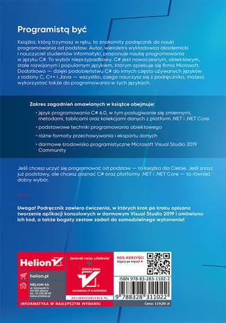 Tył okładki książki/ebooka C#. Lekcje programowania. Praktyczna nauka programowania dla platform .NET i .NET Core