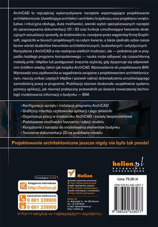 Tył okładki książki/ebooka ArchiCAD. Wprowadzenie do projektowania BIM