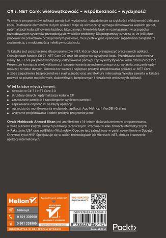 Tył okładki książki/ebooka C# 7 i .NET Core 2.0. Programowanie wielowątkowych i współbieżnych aplikacji