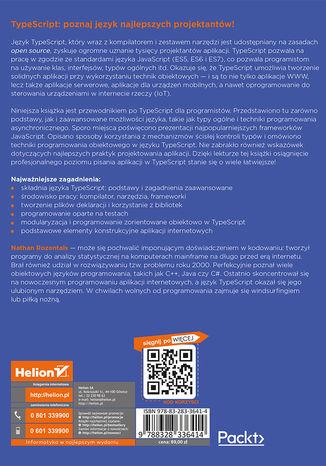 Tył okładki książki Język TypeScript. Tajniki kodu. Wydanie II