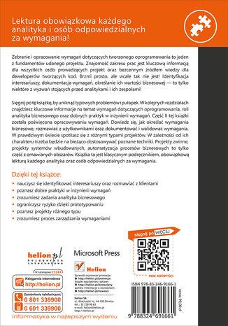 Tył okładki książki Specyfikacja oprogramowania. Inżynieria wymagań. Wydanie III