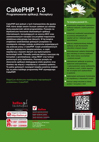 Tył okładki książki/ebooka CakePHP 1.3. Programowanie aplikacji. Receptury