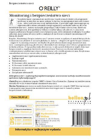 Tył okładki książki Monitoring i bezpieczeństwo sieci