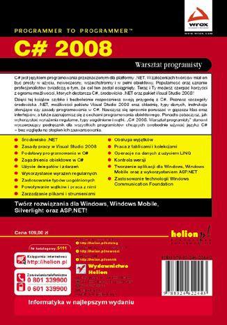 Tył okładki książki/ebooka C# 2008. Warsztat programisty