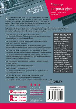Tył okładki książki/ebooka Finanse korporacyjne. Teoria i praktyka. Wydanie II