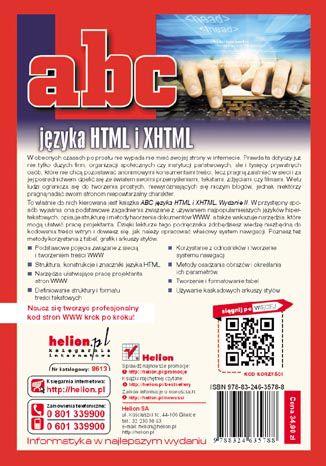 Tył okładki książki ABC języka HTML i XHTML. Wydanie II