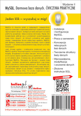 Tył okładki książki/ebooka MySQL. Darmowa baza danych. Ćwiczenia praktyczne. Wydanie II