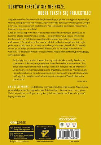 Tył okładki książki/ebooka Sztuka projektowania tekstów. Jak tworzyć treści, które podbiją internet