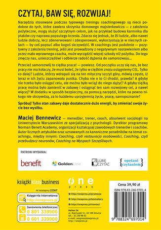 Tył okładki książki/ebooka COACHING, KREATYWNOŚĆ, ZABAWA. Narzędzia rozwoju dla pasjonatów i profesjonalistów