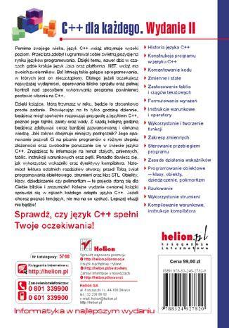 Tył okładki książki/ebooka C++ dla każdego. Wydanie II