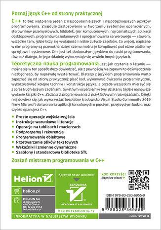 Tył okładki książki/ebooka C++. Zadania z programowania z przykładowymi rozwiązaniami. Wydanie III