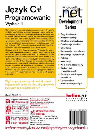 Tył okładki książki/ebooka Język C#. Programowanie. Wydanie III. Microsoft .NET Development Series