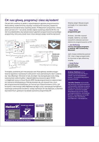 Tył okładki książki/ebooka C#. Rusz głową! Wydanie IV