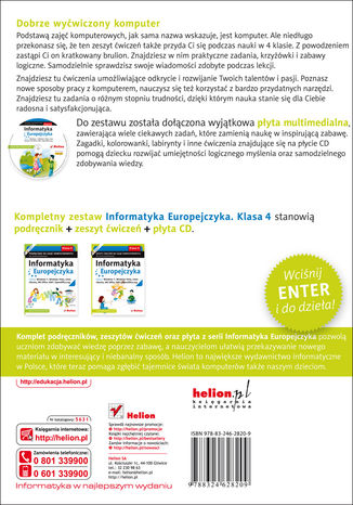 Tył okładki książki/ebooka Informatyka Europejczyka. Zeszyt ćwiczeń do zajęć komputerowych dla szkoły podstawowej, kl. 4. Edycja: Windows 7, Windows Vista, Linux Ubuntu, MS Office 2007, OpenOffice.org (Wydanie II)