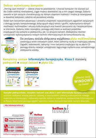Tył okładki książki/ebooka Informatyka Europejczyka. Zeszyt ćwiczeń do zajęć komputerowych dla szkoły podstawowej, kl. 5. Edycja: Windows 7, Windows Vista, Linux Ubuntu, MS Office 2007, OpenOffice.org (Wydanie II)