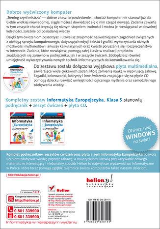 Tył okładki książki/ebooka Informatyka Europejczyka. Zeszyt ćwiczeń do zajęć komputerowych dla szkoły podstawowej, kl. 5. Edycja: Windows XP, Linux Ubuntu, MS Office 2003, OpenOffice.org (Wydanie II)