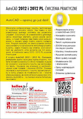 Tył okładki książki/ebooka AutoCAD 2012 i 2012 PL. Ćwiczenia praktyczne
