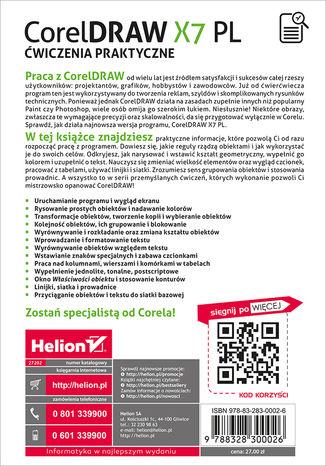 Tył okładki książki/ebooka CorelDRAW X7 PL. Ćwiczenia praktyczne