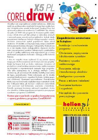 Tył okładki książki/ebooka CorelDRAW X5 PL. Ćwiczenia praktyczne