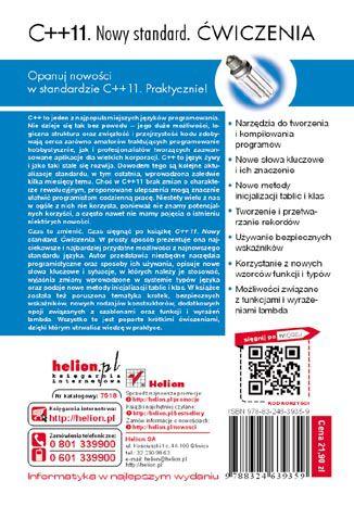 Tył okładki książki/ebooka C++11. Nowy standard. Ćwiczenia