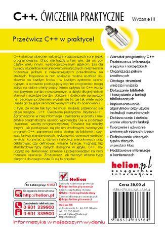 Tył okładki książki/ebooka C++. Ćwiczenia praktyczne. Wydanie III