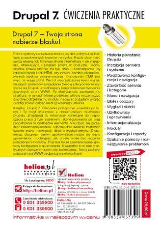 Tył okładki książki/ebooka Drupal 7. Ćwiczenia praktyczne