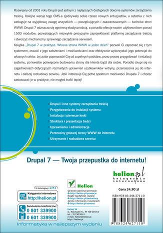 Tył okładki książki/ebooka Drupal 7 w praktyce. Własna strona WWW w jeden dzień