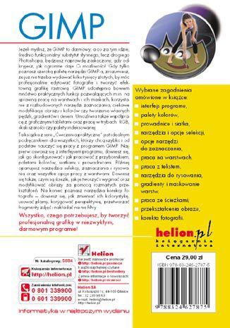 Tył okładki książki/ebooka GIMP. Ćwiczenia praktyczne