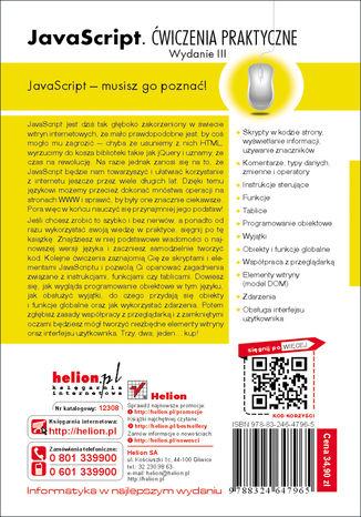 Tył okładki książki/ebooka JavaScript. Ćwiczenia praktyczne. Wydanie III