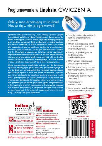 Tył okładki książki/ebooka Programowanie w Linuksie. Ćwiczenia