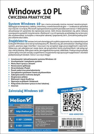 Tył okładki książki/ebooka Windows 10 PL. Ćwiczenia praktyczne
