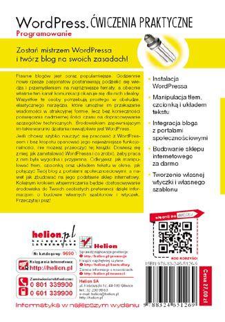 Tył okładki książki/ebooka WordPress. Programowanie. Ćwiczenia praktyczne