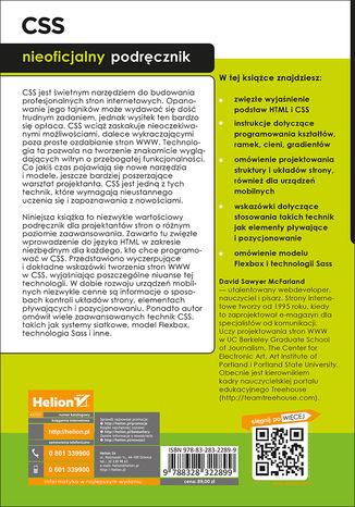 Tył okładki książki CSS. Nieoficjalny podręcznik. Wydanie IV