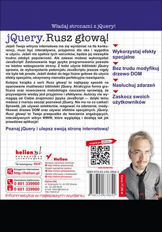 Tył okładki książki/ebooka jQuery. Rusz głową!